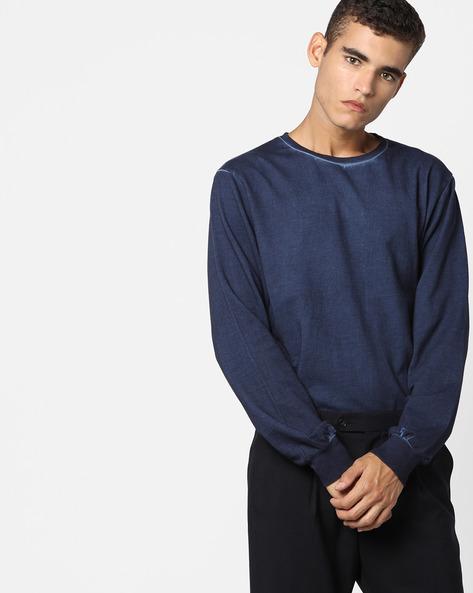 Crew-Neck Sweatshirt By AJIO ( Navy )