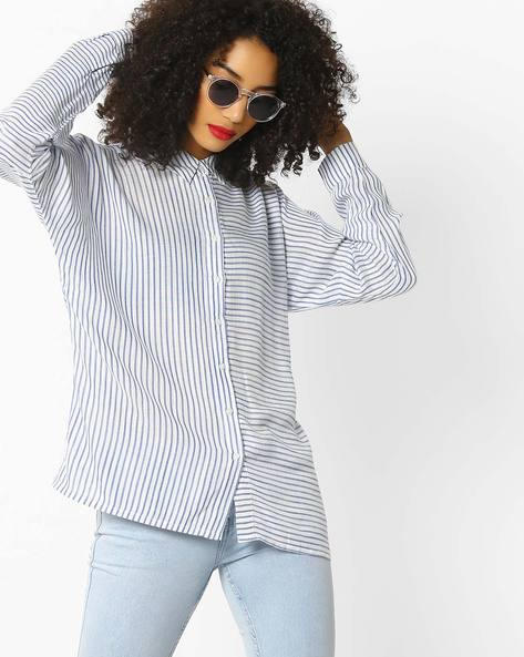Striped Shirt With Keyhole Back By Rena Love ( White )