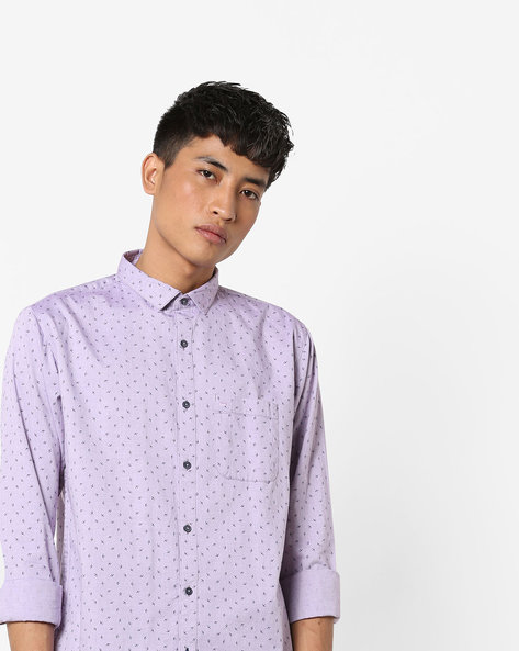 Slim Fit Printed Cotton Shirt By BASICS ( Purple )