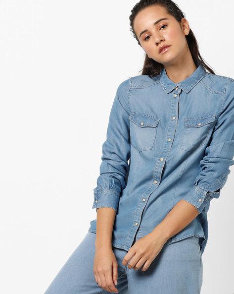 Shirt With Flap Pockets By Vero Moda ( Fuschiablue )