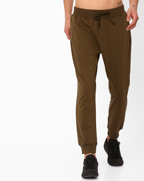 Slim Fit Joggers With Elasticated Waist By AJIO ( Olive )