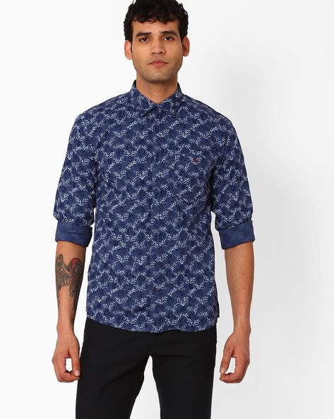 Tropical Print Slim Fit Shirt By CRIMSOUNE CLUB ( Blue )