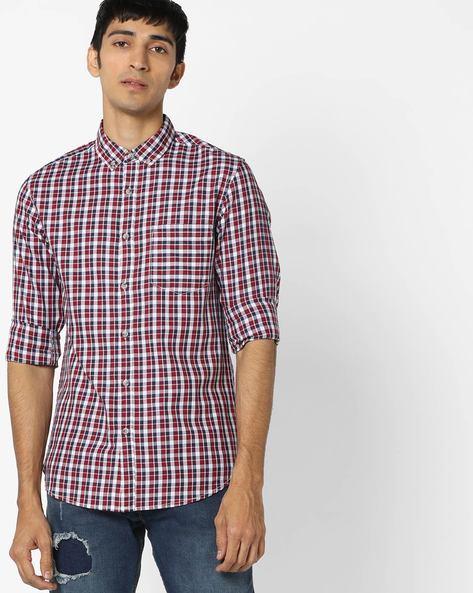 Slim Fit Checked Cotton Shirt By AJIO ( Blue )