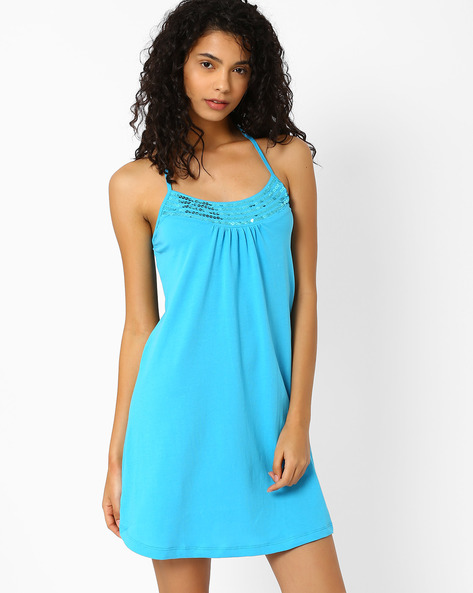 Halter-Neck Beach Dress With Sequins By PrettySecrets ( Blue ) - 460025520002