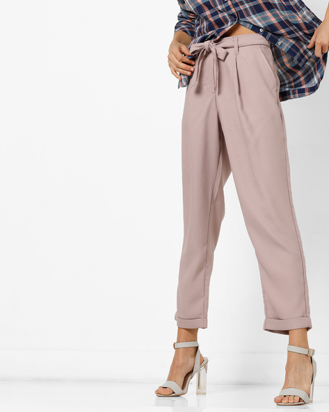Pleated Pants With Tie-Up Waist By FIG ( Pink )