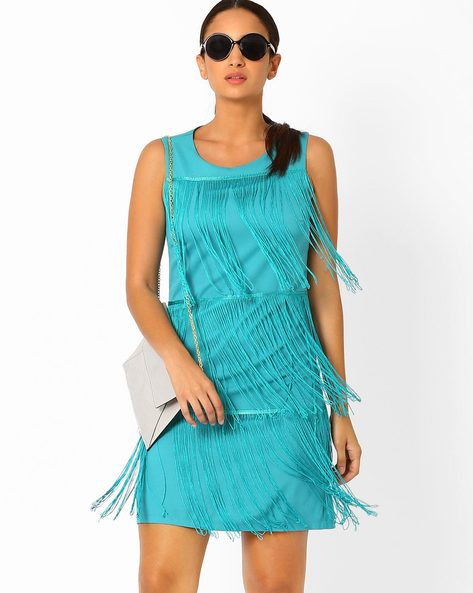 Bodycon Dress With Tiered Fringes By AJIO ( Darkgreen )