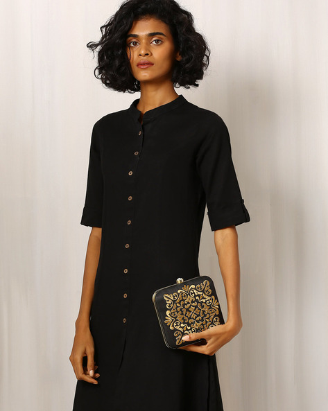 Velvet Clutch With Zari Embroidery By Molcha ( Black )