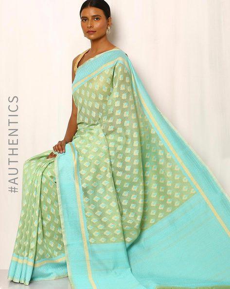 Banarasi Pure Silk Katan Cotton Cutwork Saree By Indie Picks ( Green )