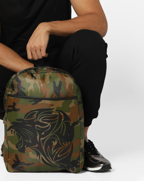Camouflage Print Backpack By AJIO ( Olive )