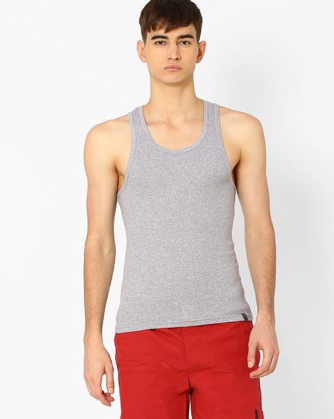 005DI Sleeveless Cotton Vest By Under Colors Of Benetton ( Grey )