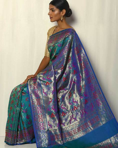 Patola-Style Brocade South Silk Saree By Pretty Woman ( Turquoise )