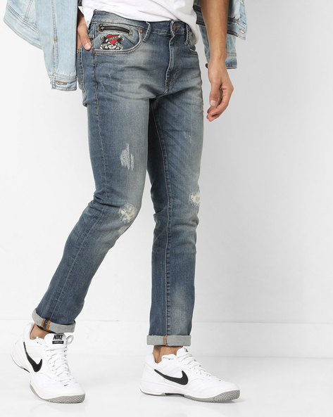 Slim Fit Distressed Jeans By ED HARDY ( Blue ) - 460155722001