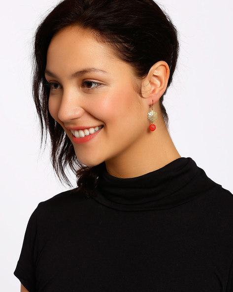 Gold-Plated Dangler Earrings By Shabnam Gitanjali ( Red ) - 460012322001