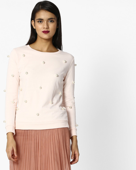 Crew-Neck T-shirt With Beaded Embellishments By Evah London ( Pink )
