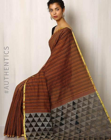 Handloom Jamdani Cotton Silk Saree By Indie Picks ( Brown )