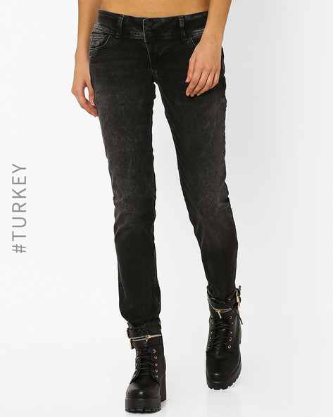 Low-Rise Skinny Jeans By Cross Jeans ( Grey )