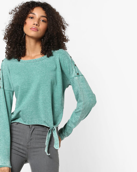 Drop-Shoulder Top With Tie-Up By Only ( Turquoise )