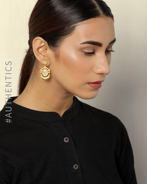Gold Plated Brass Drop-Earrings By Courtyard ( Gold )