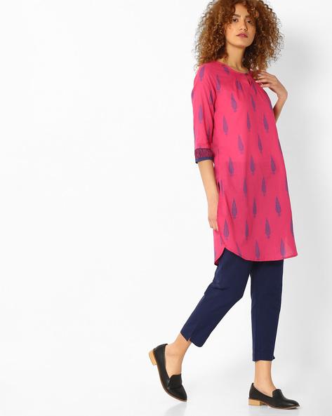 Printed Straight Kurta By Melange By Lifestyle ( Pink )