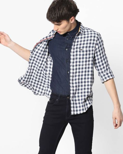 Slim Fit Checked Shirt With Patch Pocket By The Indian Garage Co ( Blue ) - 460191605003