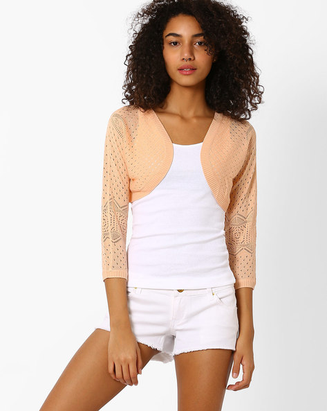 Knitted Shrug With Ribbed Hems By Only ( Rose )