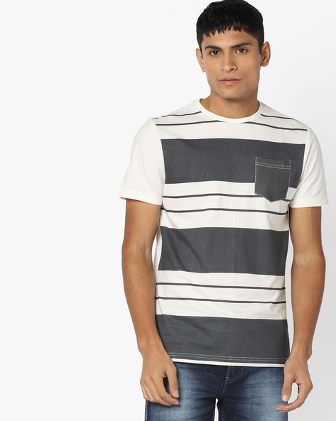 Striped Crew-Neck T-shirt With Patch Pocket By AJIO ( White )