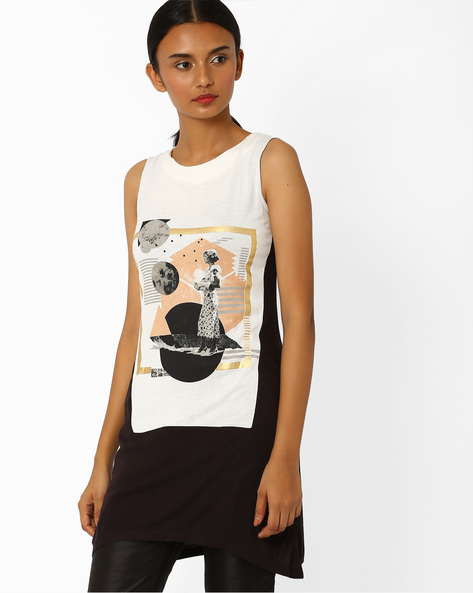 Graphic Print Colourblock Tunic By W ( White )
