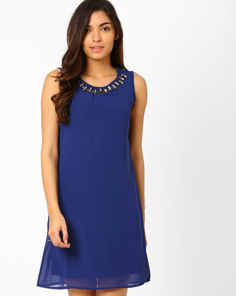 Shift Dress With Embellished Neckline By SF Jeans By Pantaloons ( Navyblue )
