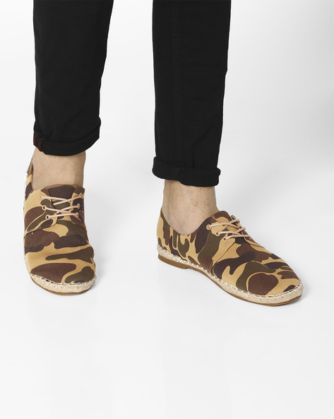 Camouflage Lace-Up Espadrilles By AJIO ( Khaki )