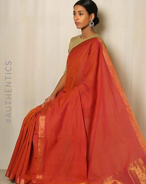 Handwoven Mangalgiri Cotton Saree With Zari Border By Indie Picks ( Violet )