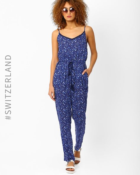 Floral Print Knitted Jumpsuit By TALLY WEiJL ( Blue )