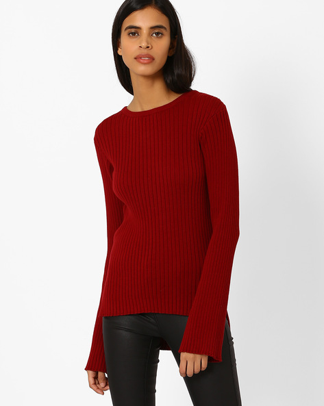 Ribbed High-Low Hem Pullover By AJIO ( Maroon )