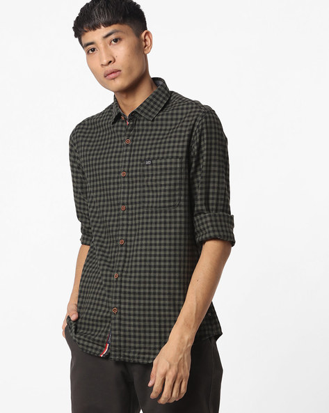 Slim Fit Checked Shirt With Patch Pocket By The Indian Garage Co ( Olive )