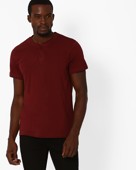 Cotton Henley Slim Fit T-shirt By Blue Saint ( Maroon )