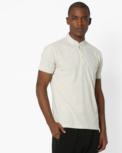 T-shirt With Band Collar By NETPLAY ( Beige )