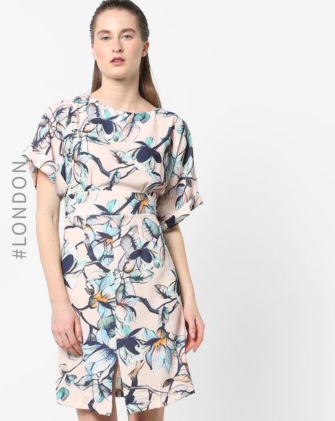 Floral Print Dress With Kimono Sleeves By Closet London ( Multi ) - 460171233001