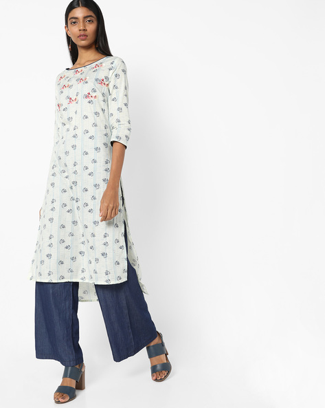 Printed High-Low Kurta With Floral Embroidery By AJIO ( Offwhite )
