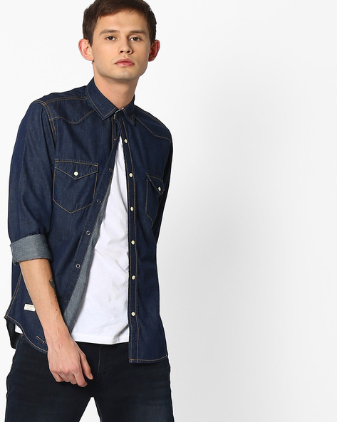 Slim Fit Shirt With Flap Pockets By Pepe Jeans ( Navy )