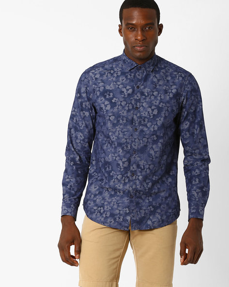 Floral Print Slim Casual Shirt By JOHN PLAYERS ( Blue )