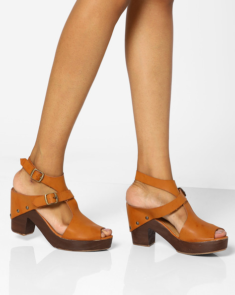 Peep-Toe Heels With Ankle Strap By AJIO ( Tan )