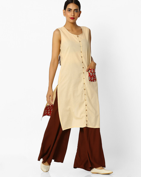 Sleeveless Straight Kurta With Printed Panels By SIYAHI ( Beige )
