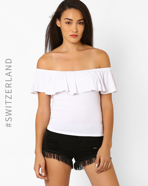 Off-Shoulder Top With Ruffles By TALLY WEiJL ( White )