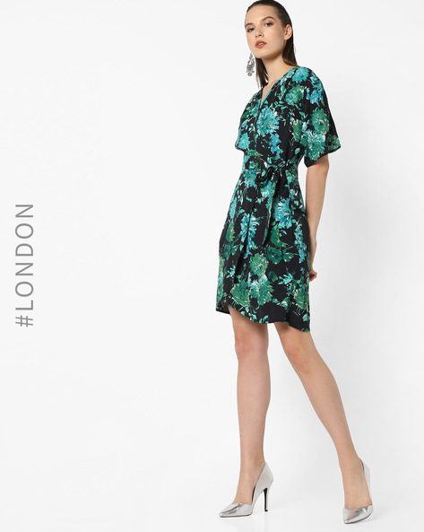 Floral Print Wrap-Around Dress By Closet London ( Multi )