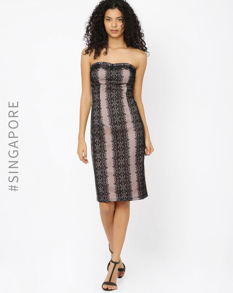 Lace Tube Dress By MDS ( Black )