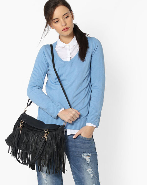Shoulder Bag With Fringes By Lino Perros ( Black )