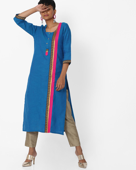 Straight Kurta With Contrast Taping By AVAASA MIX N' MATCH ( Navy )
