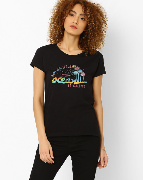 Graphic Print Crew-Neck T-shirt By Lee ( Black )