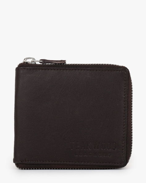 Leather Bi-Fold Wallet By TEAKWOOD LEATHERS ( Black )