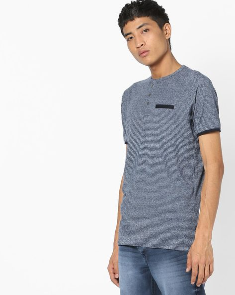 Striped Henley T-shirt With Welt Pocket By DNMX ( Navy )
