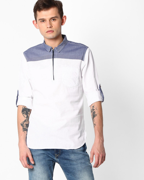 Cotton Slim Fit Shirt By The Indian Garage Co ( Ltblue )